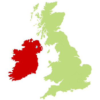UK Map showing Ireland