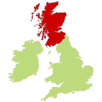 UK Map showing Scotland